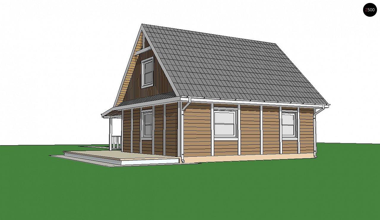 Вариант проекта Z39 c деревянными фасадами и гаражом расположенным с левой стороны. 2