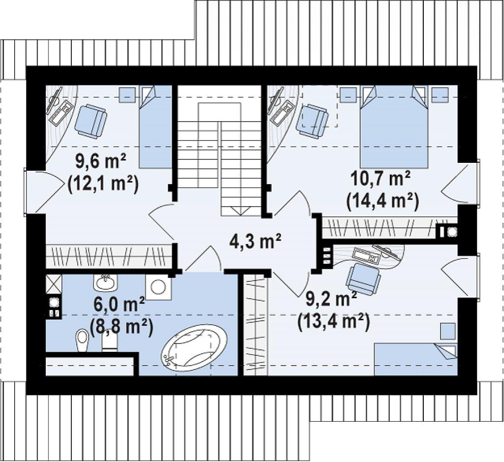 Компактный односемейный дом с дополнительной спальней на первом этаже. план помещений 2