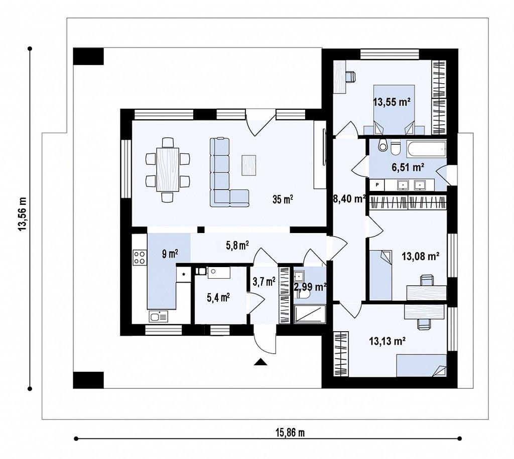 Одноэтажный, современный дом с плоской крышей план помещений 1