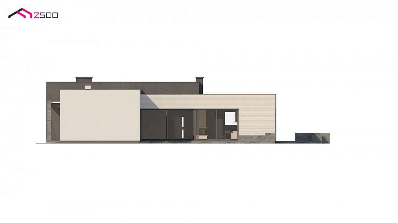 Одноэтажный дом в современном стиле с гаражом на 3 машины, с плоской кровлей 9