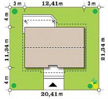 Версия проекта Z7 с мансардным этажом, угол наклона кровли 35 градусов. план помещений 1