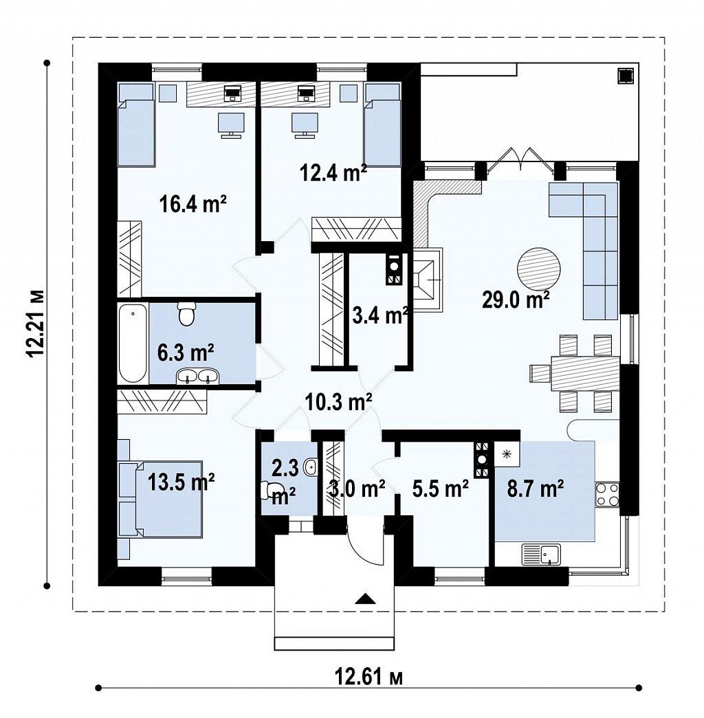 Практичный одноэтажный дом с 4-х скатной кровлей и угловым окном в кухне. план помещений 1