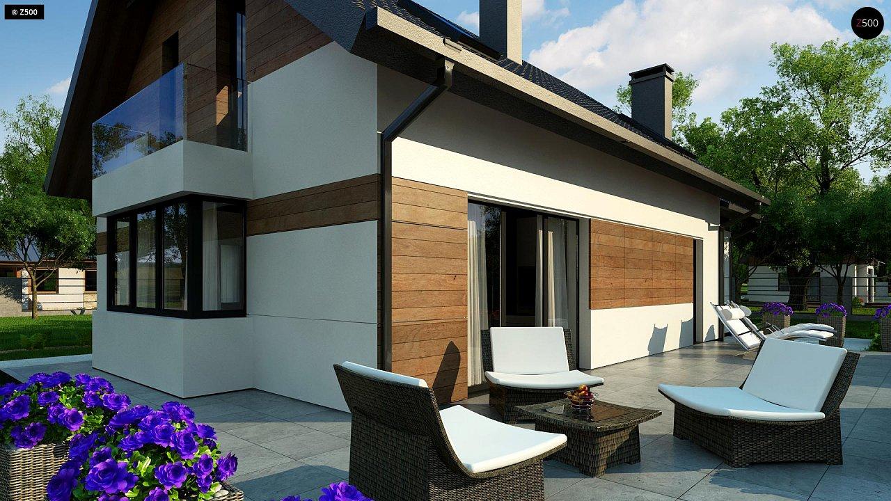 Красивый дом в традиционном стиле архитектуры, с комнатой на пером этаже и гаражом. - фото 3