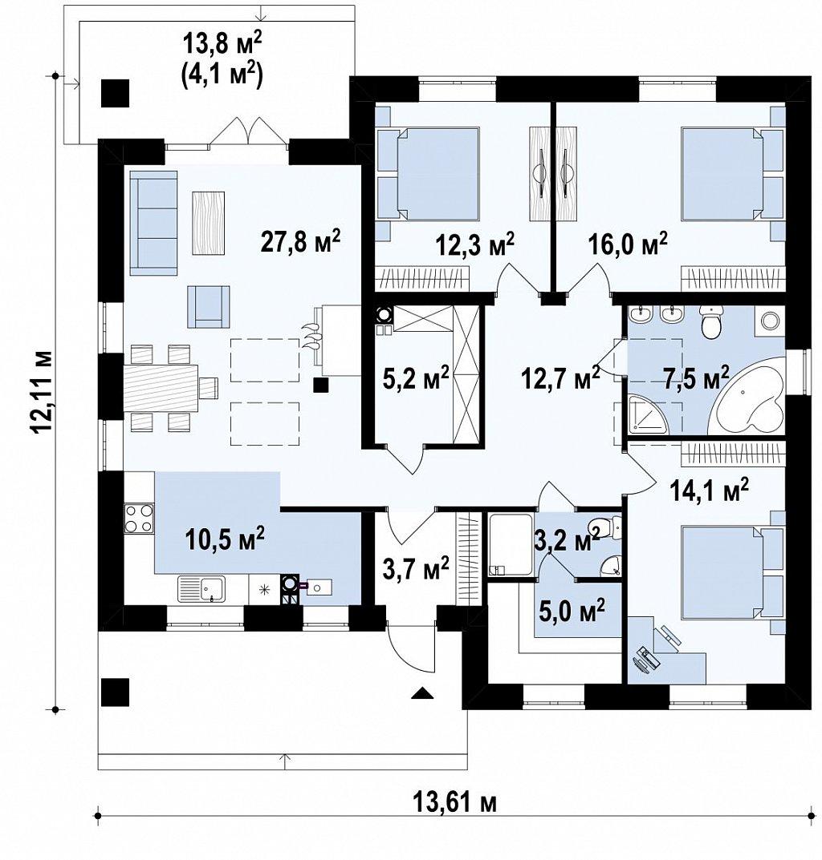 Вариант Zz230 без мансардного этажа план помещений 1