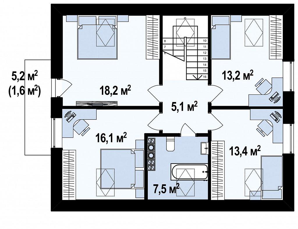 Вариант Z255 c жилой мансардой план помещений 2