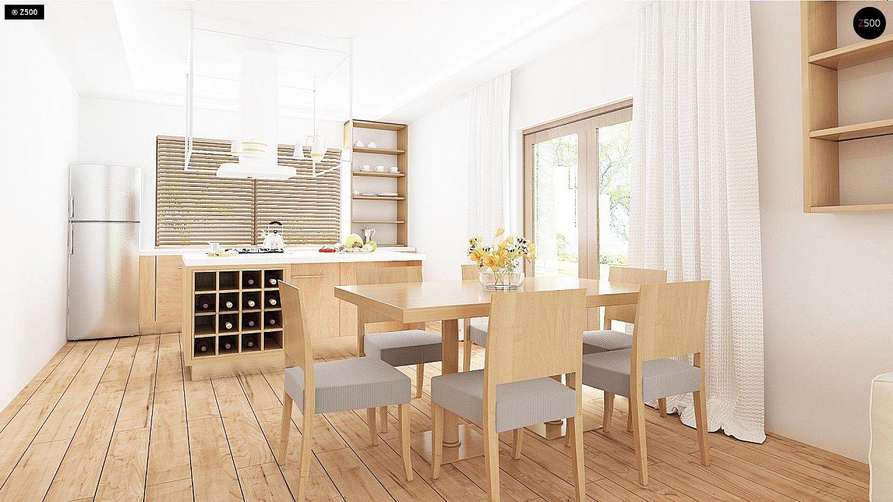 Проект одноэтажного дома с фронтальным выступающим гаражом и возможностью обустройства мансарды. 6