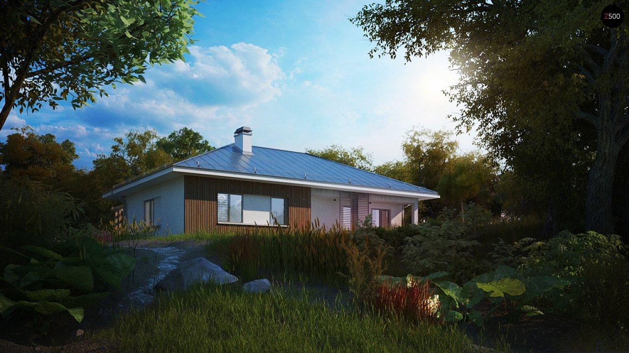 Практичный одноэтажный дом традиционной формы с многоскатной крышей. 4