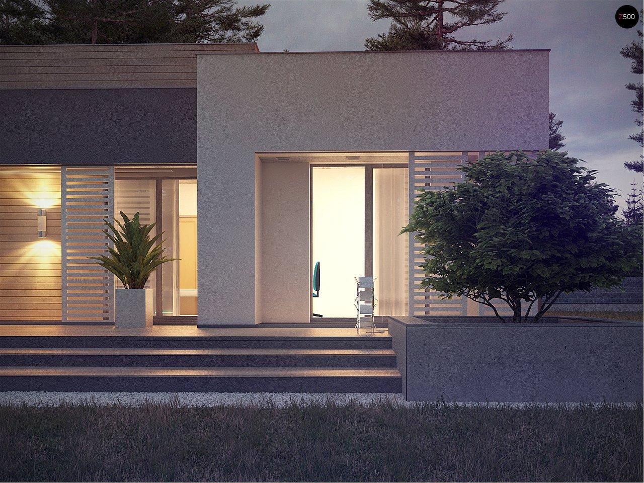 Одноэтажный дом в стиле хай-тек с плоской кровлей и большой площадью остекления. 20