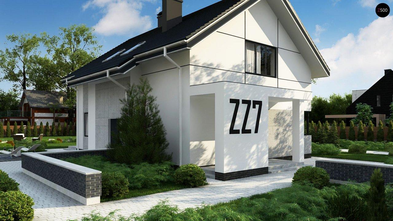Проект оригинального двухуровневого современного дома без гаража. 2
