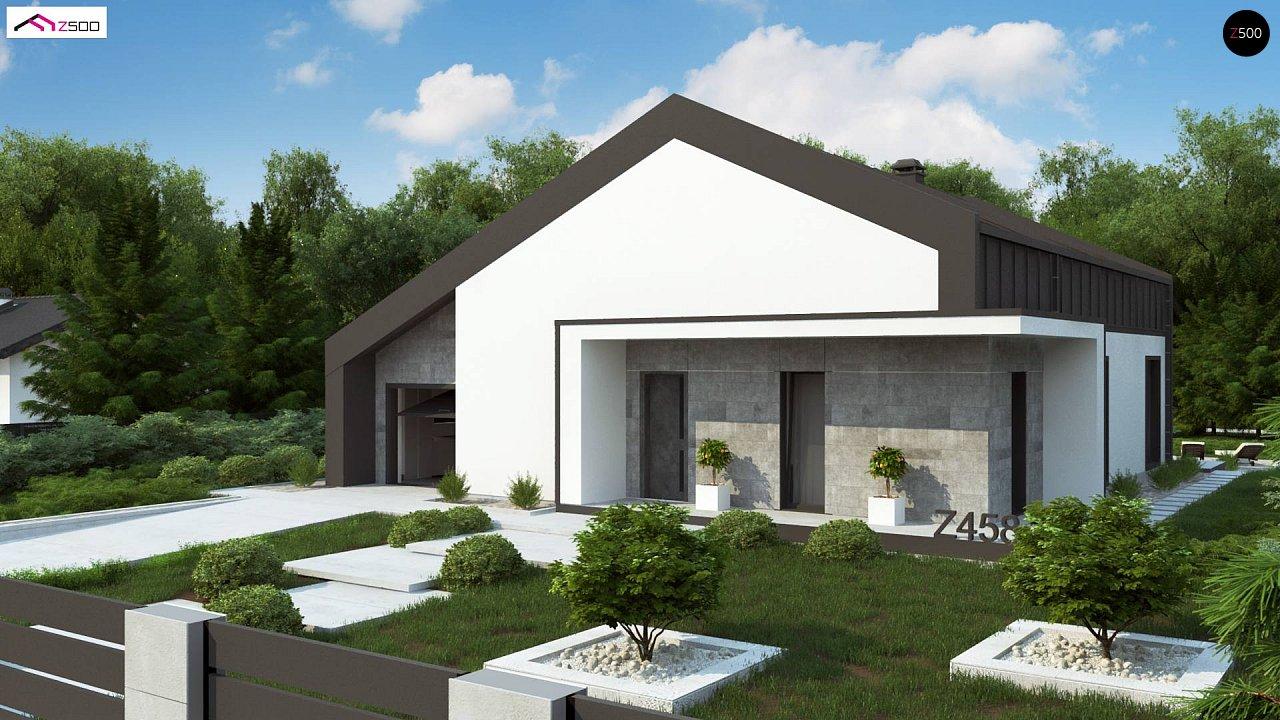 Современный одноэтажный дом с двускатной крышей и большой террасой 1