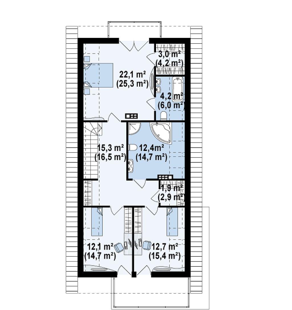 Практичный и уютный дом простой формы для узкого участка с террасой над гаражом. план помещений 2