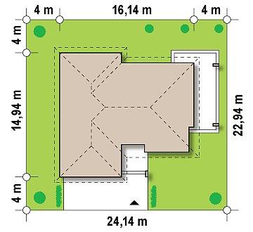 Практичный одноэтажный дом с гаражом для одной машины и возможностью адаптации чердачного помещения. план помещений 1