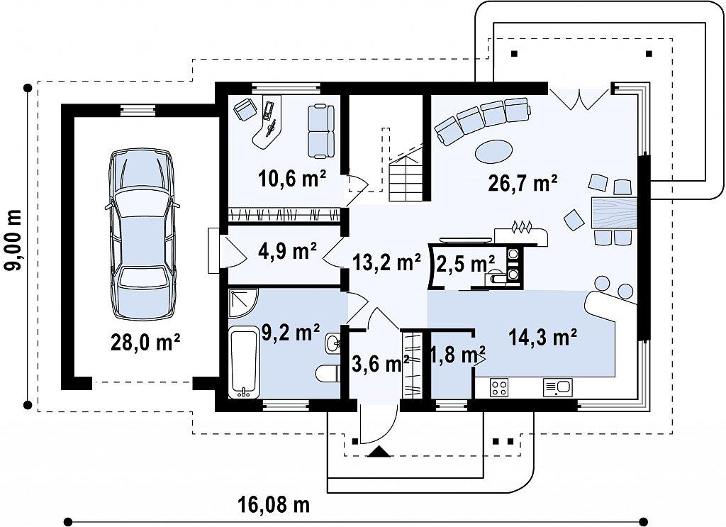 Комфортный дом с кабинетом на первом этаже и угловыми окнами в дневной зоне. план помещений 1