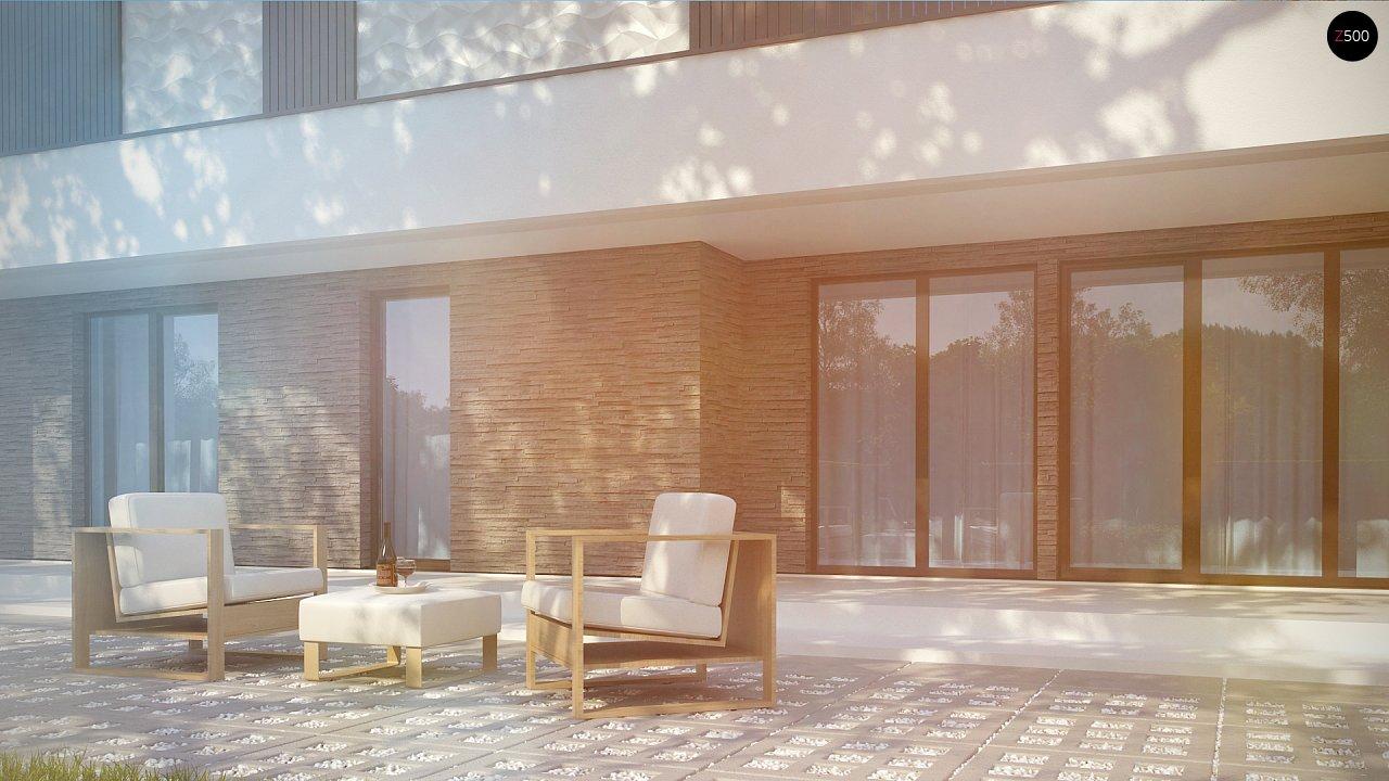 Современный проект домов-близнецов с большим гаражом и террасой на втором этаже. 3