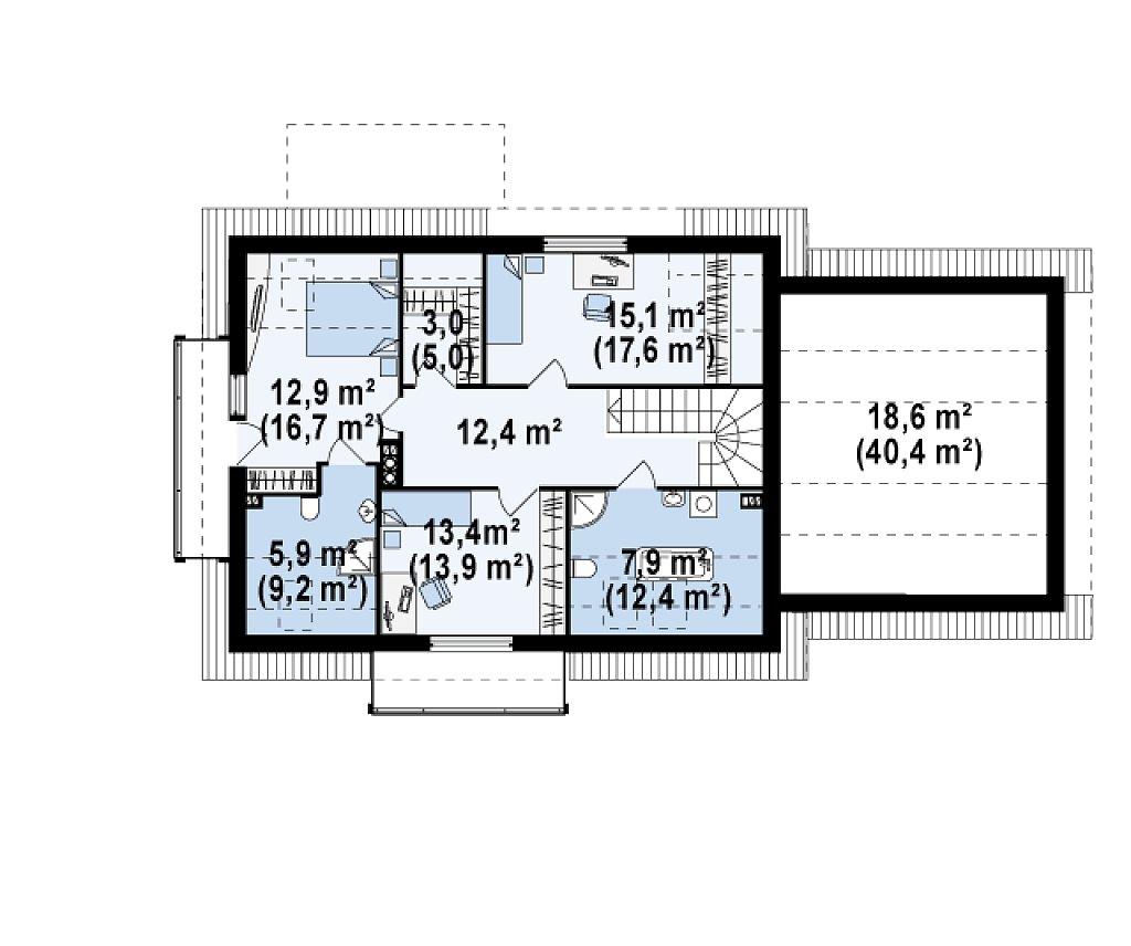 Просторный функциональный дом с гаражом, красивыми мансардными окнами и дополнительной спальней на первом этаже. план помещений 2