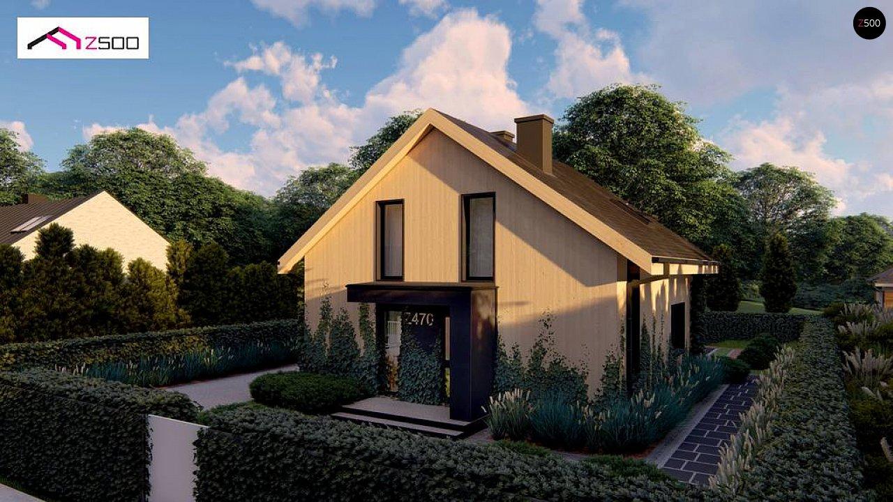 Проект просторного мансардного дома с панорамным остеклением. - фото 2