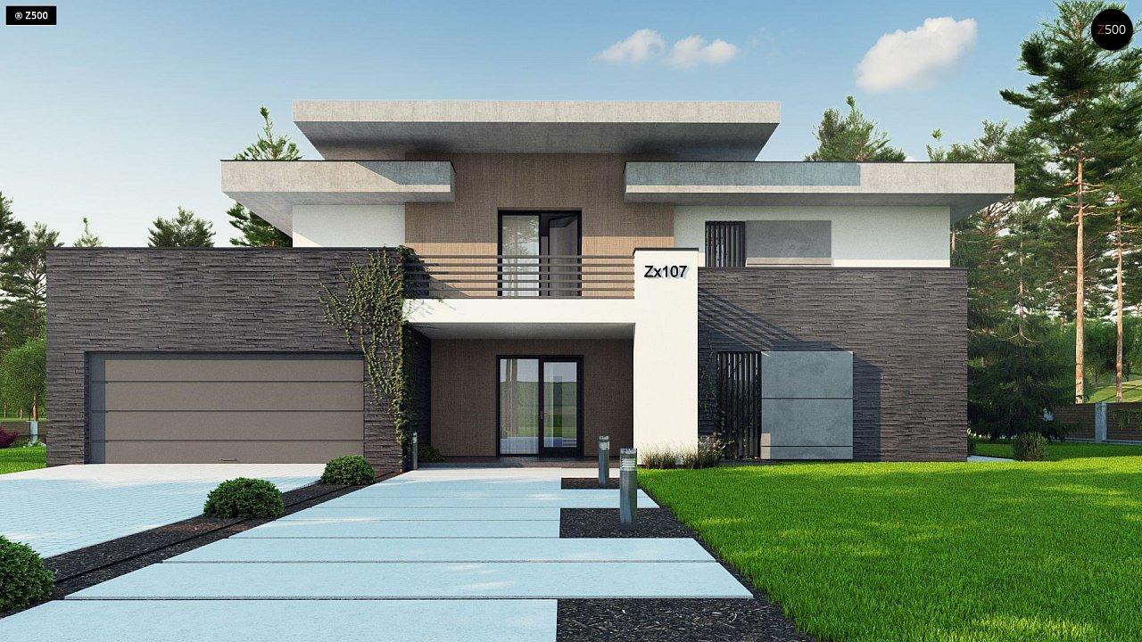 Красивый и комфортный дом с плоской кровлей, гаражом на две машины и просторными террасами. - фото 6