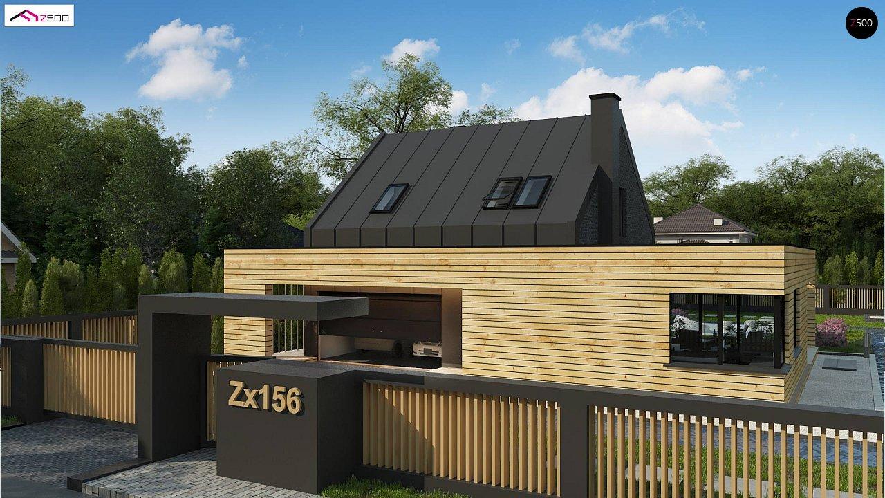 Современный дом с 2-х скатной кровлей, окруженный террасой с плоской крышей. 2
