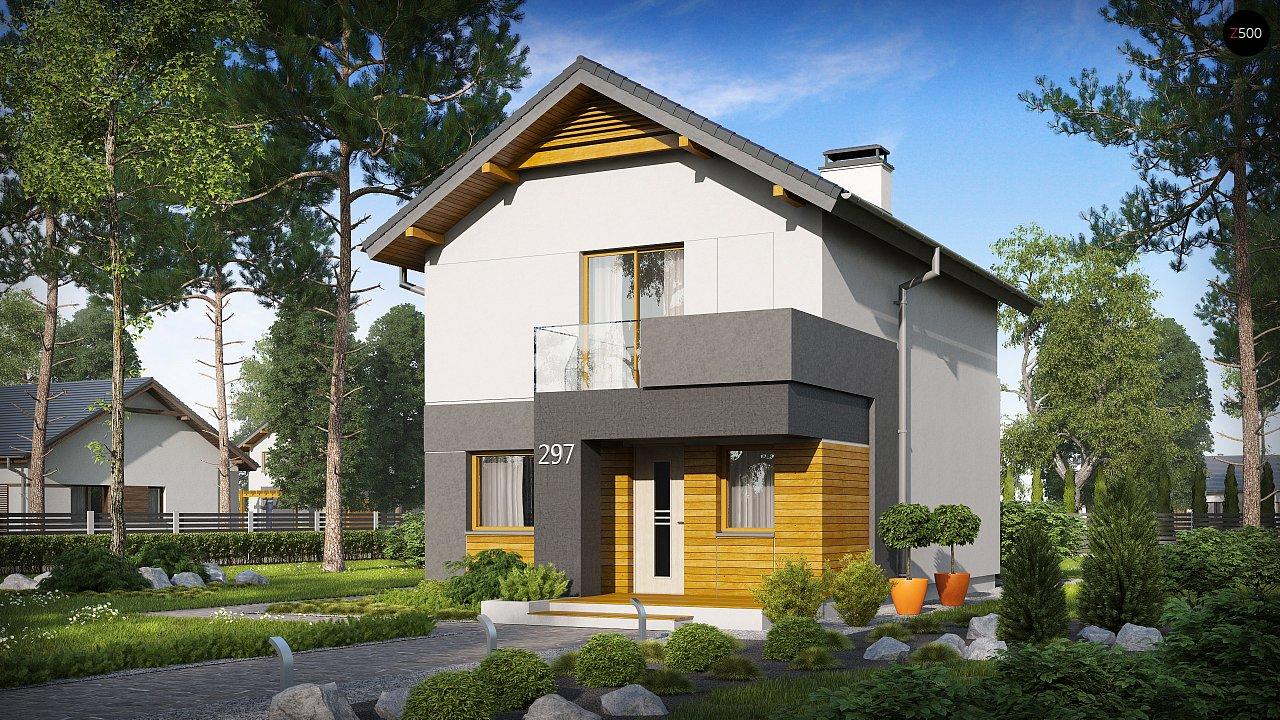 Небольшой двухэтажный дом с современными архитектурными элементами, подходящий для узкого участка. - фото 2