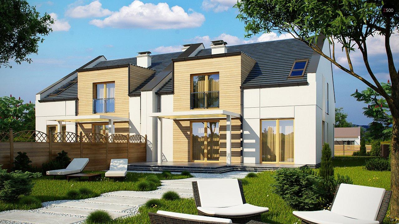Проект домов для симметричной застройки стильного современного дизайна. 2