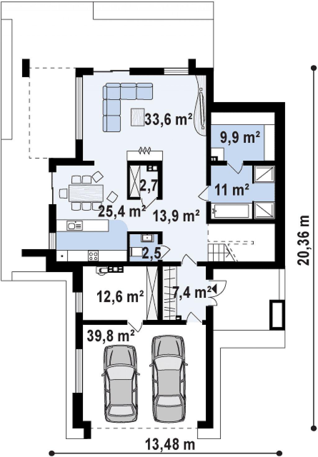 Современный комфортный двухэтажный дом с баней план помещений 1