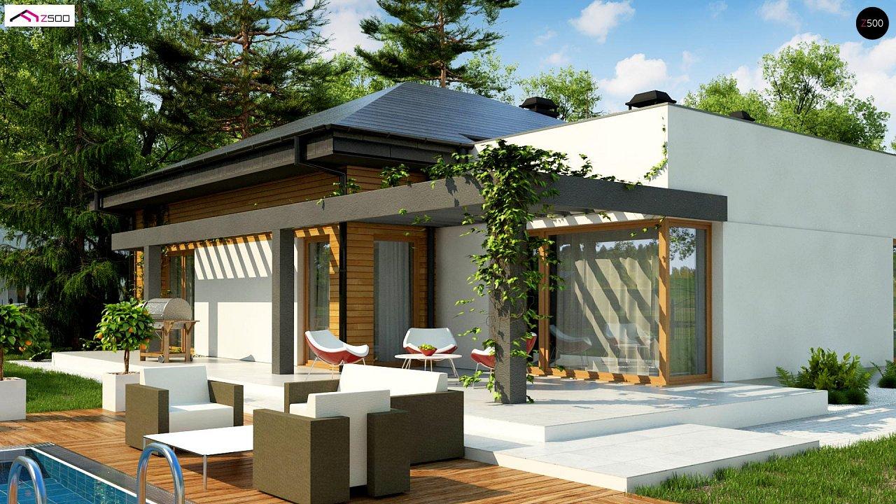 Современный дом с остроконечной крышей бунгало 4