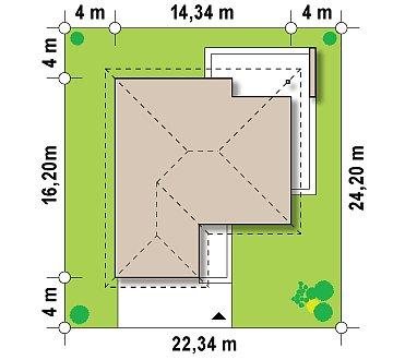 Проект удобного одноэтажного дома с гаражом для двух автомобилей и большим хозяйственным помещением. план помещений 1