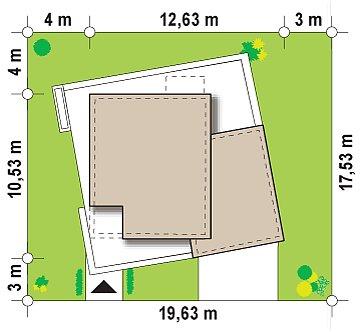 Версия проекта Zx51 с боковым гаражом. план помещений 1