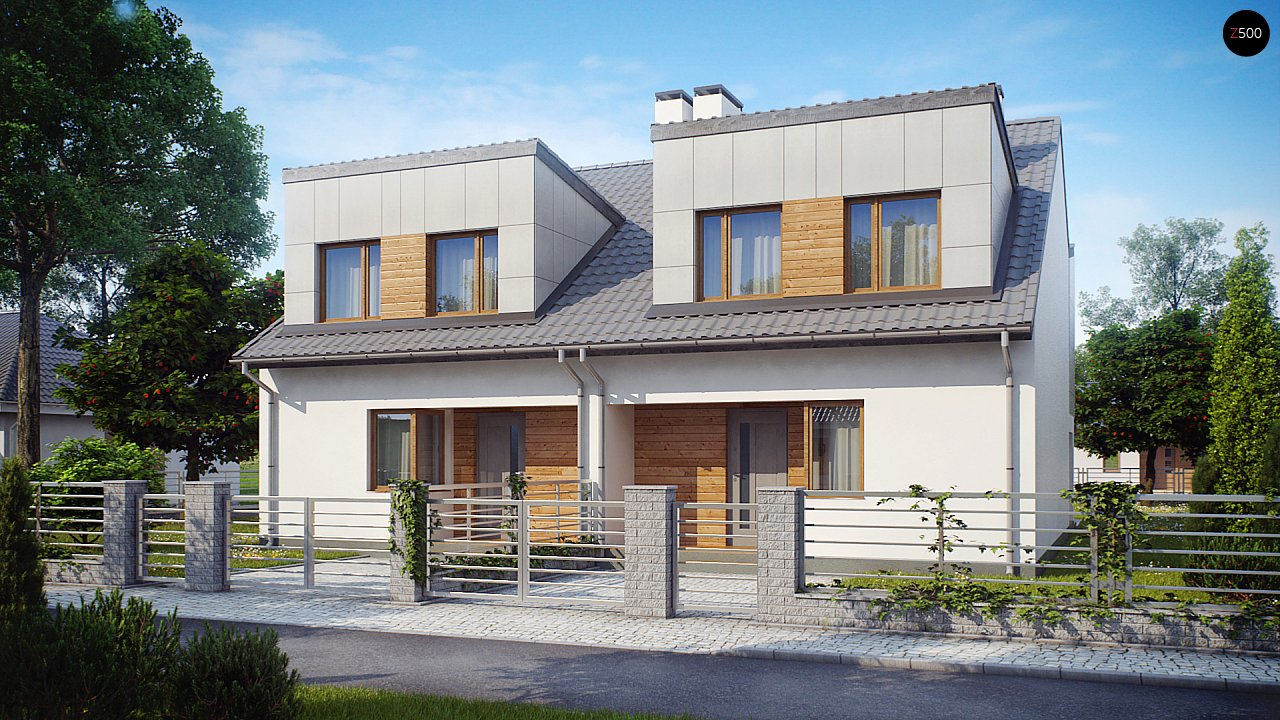 Компактные дома близнецы в современном стиле с уютным интерьером. 1
