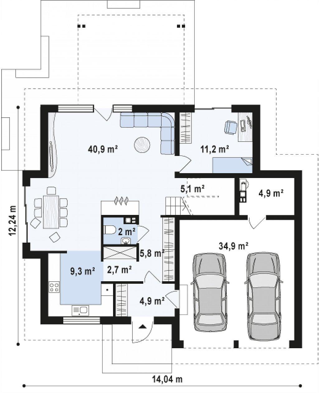 Версия проекта Z270 с альтернативной планировкой мансардного этажа. план помещений 1