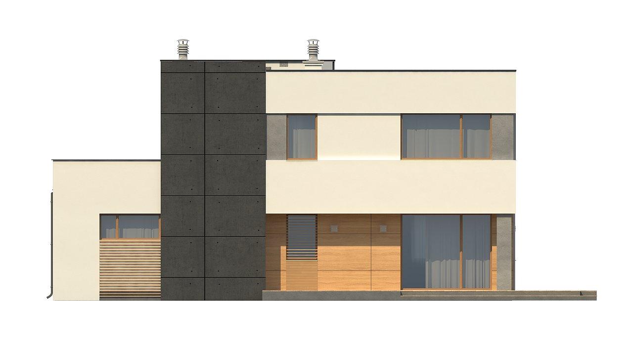 Двухэтажный дом в модернистского дизайна с гаражом и террасой на верхнем этаже. 11