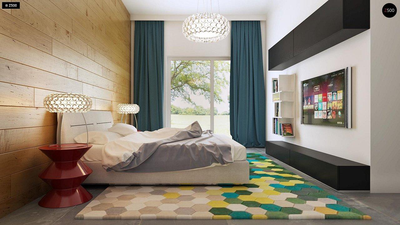Одноэтажный практичный дом с плоской крышей современного дизайна. 10