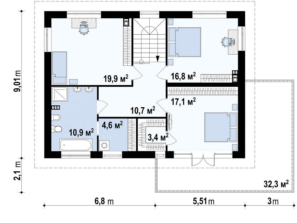 Практичный двухэтажный дом простой формы с низкой крышей, с гаражом для двух автомобилей. план помещений 2