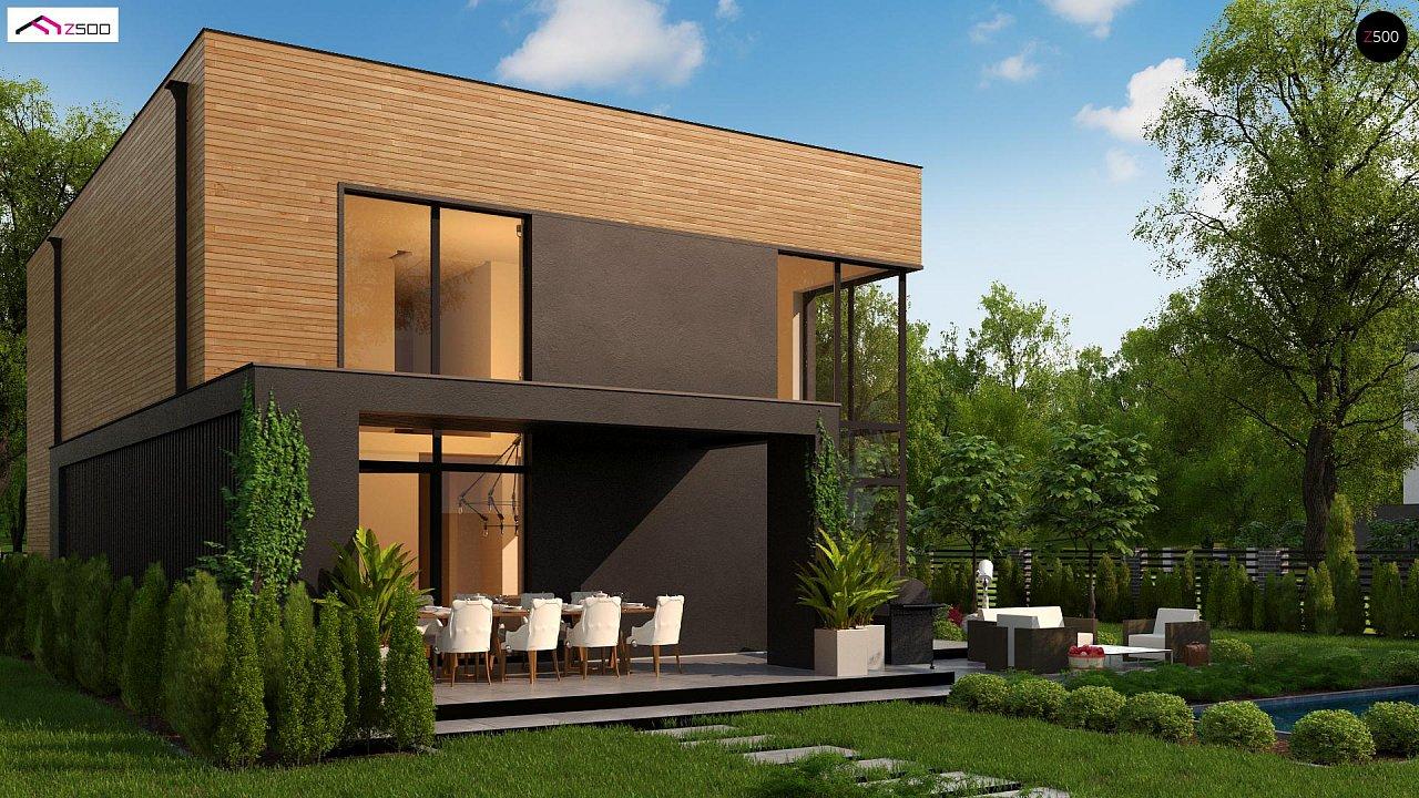 Проект современного двухэтажного дома с вторым светом и большой площадью остекления. - фото 5