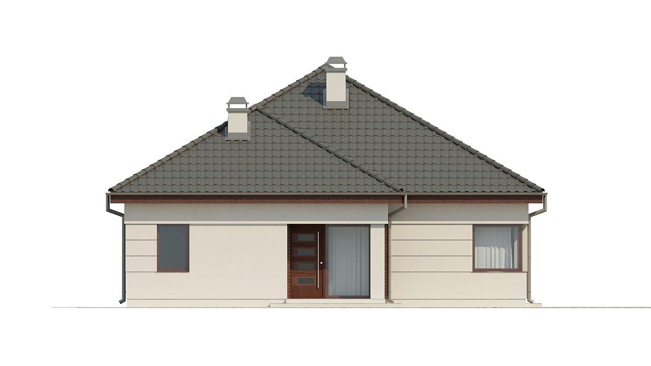Просторный одноэтажный дом с многоскатной крышей, угловым окном и угловой террасой в дневной зоне. 21