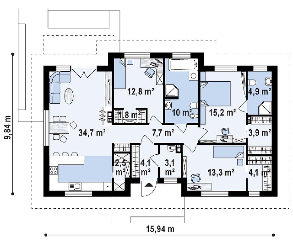Комфортный одноэтажный дом в традиционном стиле. план помещений 1