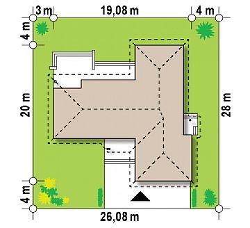 Проект одноэтажного дома с выступающим фронтальным гаражом. план помещений 1