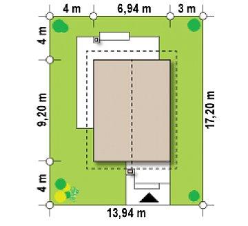 Небольшой двухэтажный дом с современными архитектурными элементами, подходящий для узкого участка. план помещений 1
