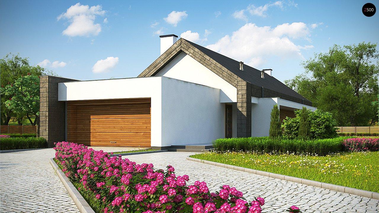 Современный дом с двускатной крышей на узком участке - фото 1