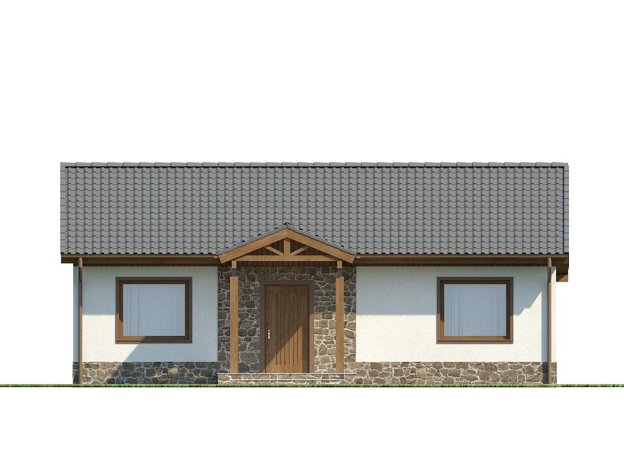 Экономичный в реализации одноэтажный дом с просторной гостиной и двумя спальнями. 12