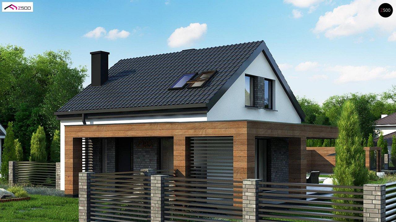 Проект мансардного дачного дома с комнатой на первом этаже 1