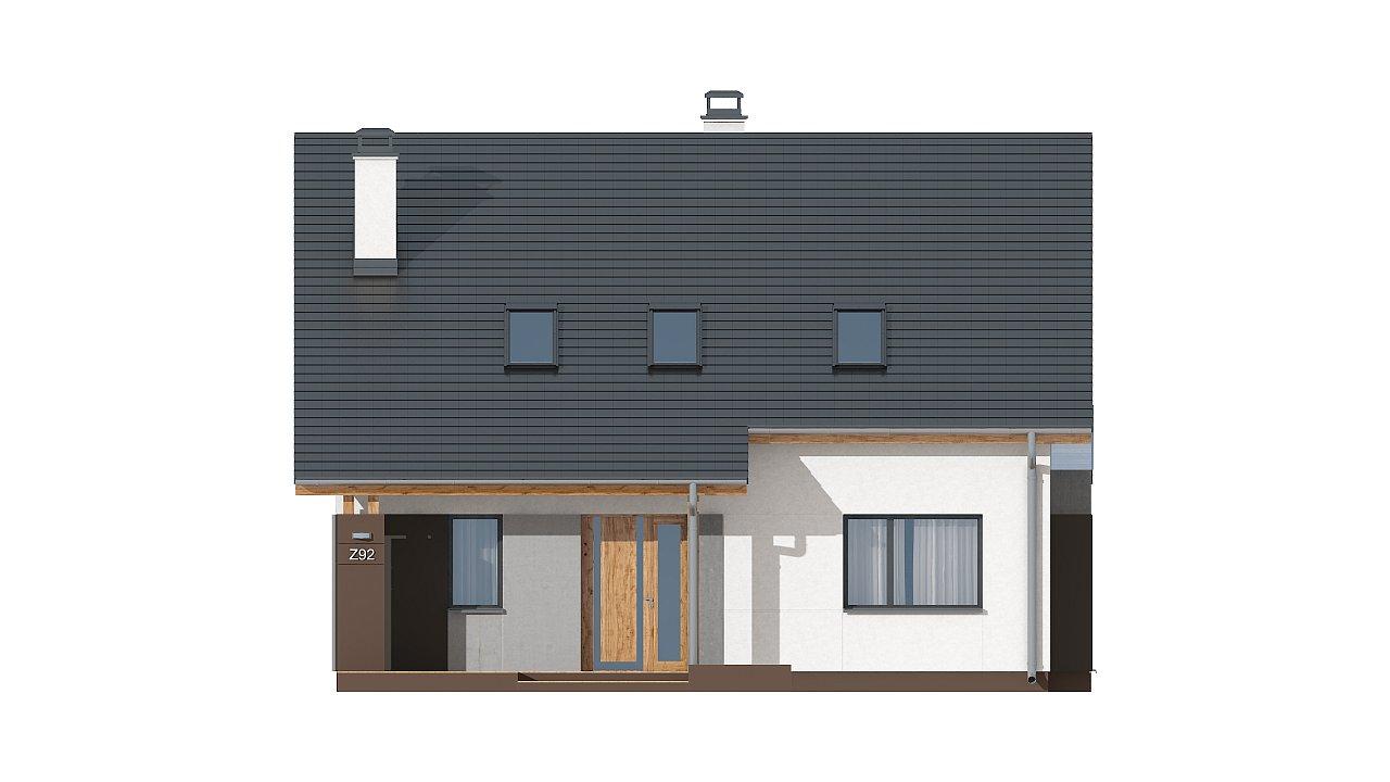 Проект практичного дома с большим хозяйственным помещением, с кабинетом на первом этаже. 15