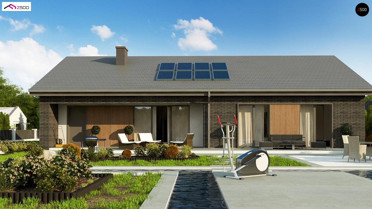Одноэтажный дом с 4 спальнями, гаражом и 2-х скатной крышей 4