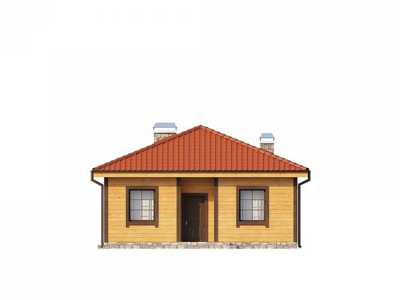 Аккуратный одноэтажный дом с деревянной облицовкой фасадов, адаптированный для каркасной технологии. 13