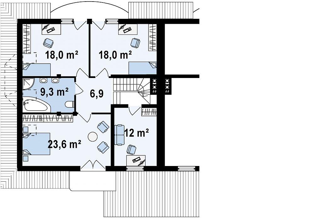 Проект домов близнецов с гаражом и дополнительным помещением на чердаке. план помещений 2