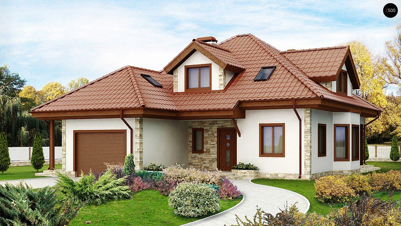 Проект просторного и уютного дома с гаражом, эркером, красивыми мансардными окнами. - фото 1