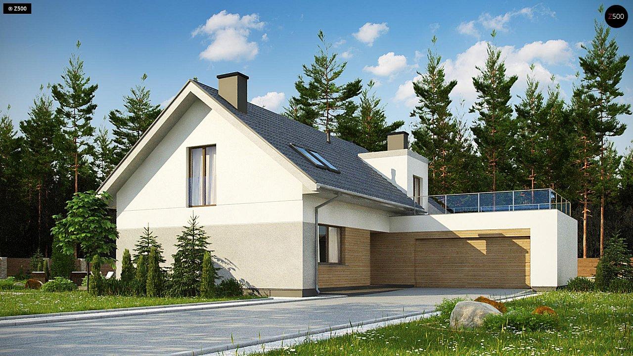 Cтильный мансардный дом с гаражом для двух машин 1