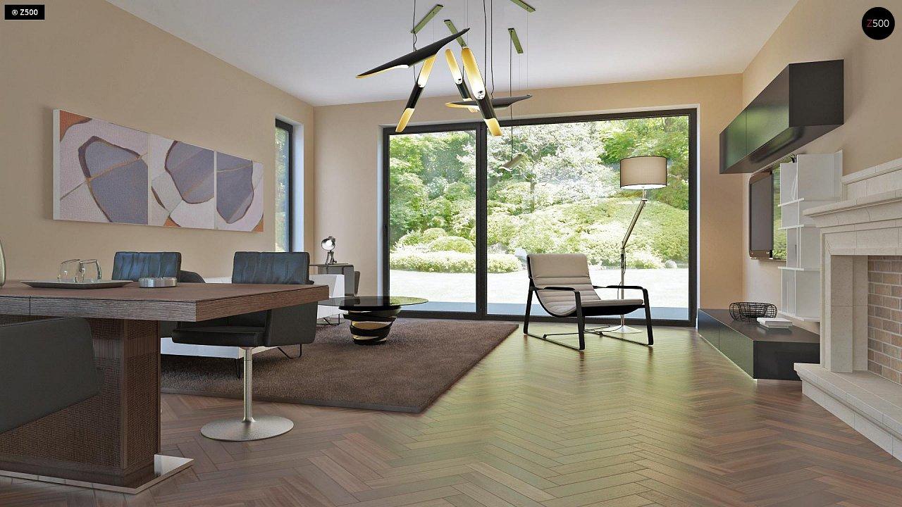 Аккуратный дом простой традиционной формы с гаражом и дополнительной спальней на первом этаже. 4