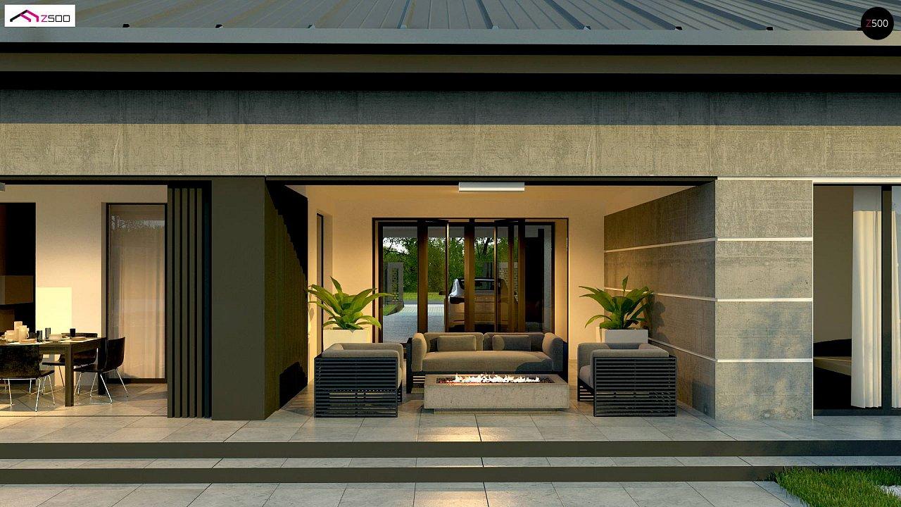 Проект дома с одноуровневой оригинальной планировкой и современным экстерьером. 3