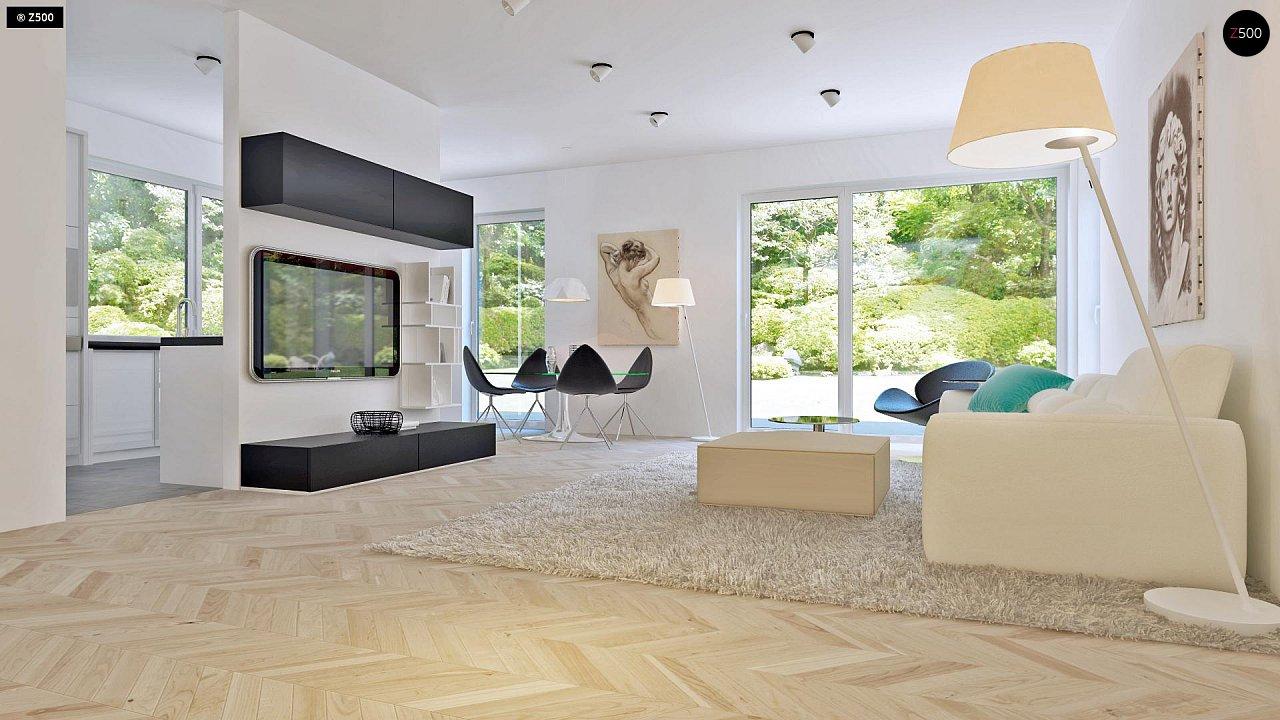 Проект компактного двухэтажного дома строгого современного стиля. 6